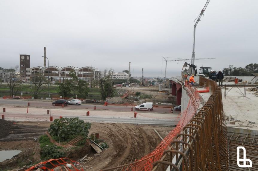 Grindetti y Moccia recorrieron la etapa final de  obras del nuevo Puente Ol�mpico