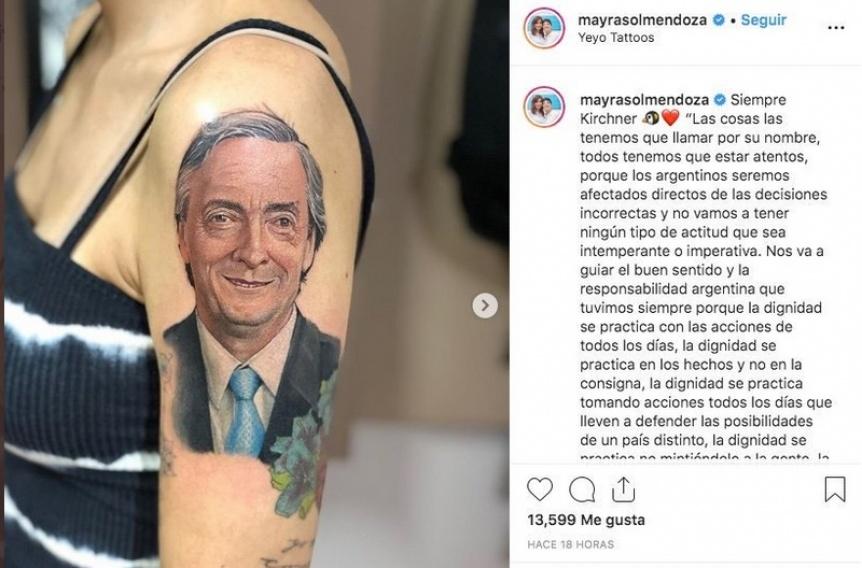 En el D�a de la Militancia, Mayra Mendoza exhibi� un tatuaje de N�stor Kirchner