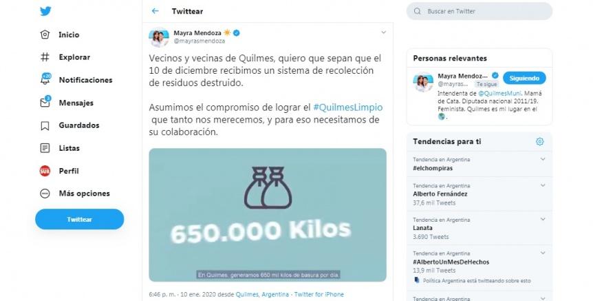 Mayra Mendoza aclar� el tema de la basura por Twitter