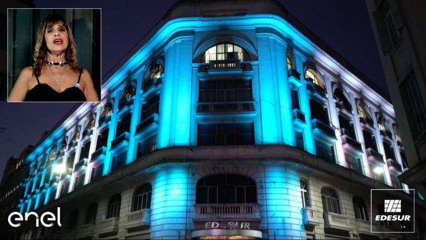 Edesur iluminó su edificio central para celebrar el Día de la Patria
