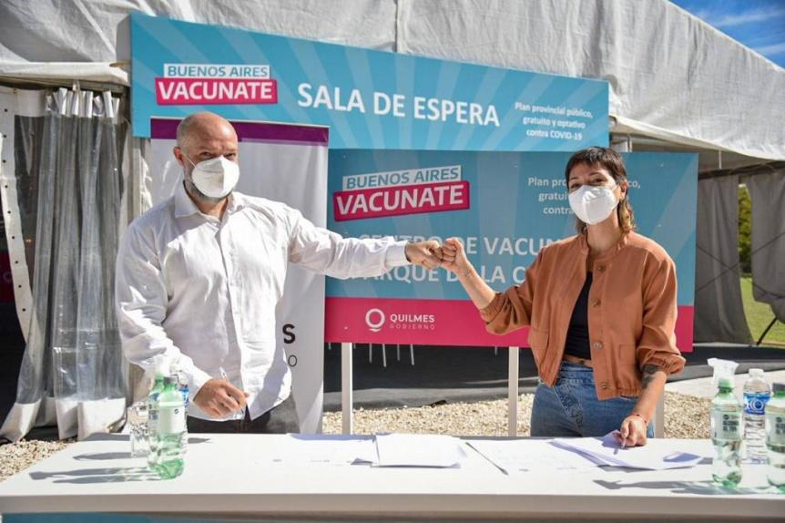 Mendoza supervisó las instalaciones del nuevo centro de vacunación en el Parque de la Cervecería