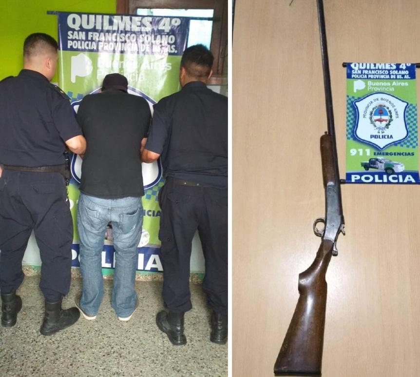 Arrestaron a sujeto armado con una escopeta que merodeaba en Solano - Perspectiva Sur