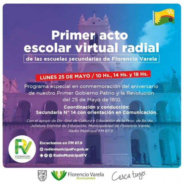 El 25 de mayo transmiten el acto en Varela