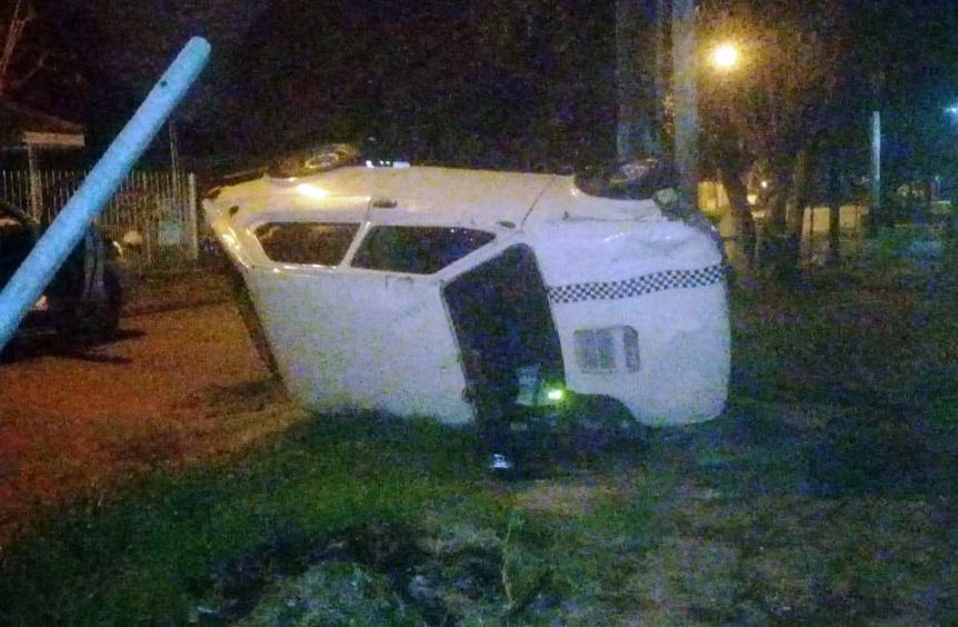 Coche presuntamente robado atropell� a motociclistas y volc�