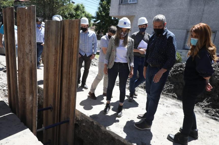 Ferraresi y Galmarini recorrieron obras de agua y cloacas en Avellaneda